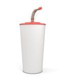 Taza plástica en blanco blanca con una paja para su diseño Imágenes de archivo libres de regalías