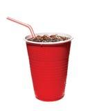 Taza plástica roja de soda Imágenes de archivo libres de regalías