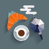 Taza plana de fabricante del café, del cruasán y de café ilustración del vector