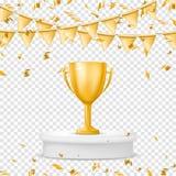 Taza realista de los ganadores del oro con la bandera, el confeti y la serpentina Trofeo Aislado en fondo transparente Vector imágenes de archivo libres de regalías