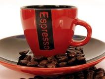 Taza roja 2 del café express Imagen de archivo libre de regalías