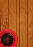 Taza roja con café Fotografía de archivo