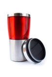 Taza roja de aluminio fotografía de archivo