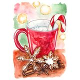 Taza roja de leche con las galletas y especie ilustración del vector