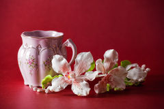 Taza rosada de té verde fotos de archivo