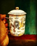 Taza/taza hermosas con Dragon Print Imágenes de archivo libres de regalías
