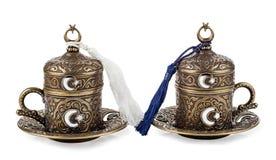 Taza turca del cofee en fondo aislado blanco Fotografía de archivo libre de regalías