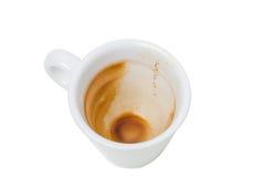 Taza vacía y sucia del café express Imágenes de archivo libres de regalías