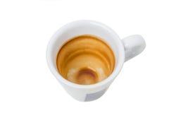 Taza vacía y sucia del café express Imagen de archivo