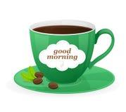Taza verde del vector de café y de texto Imágenes de archivo libres de regalías