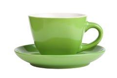 Taza verde vacía aislada en blanco Imagen de archivo