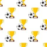 Taza y balón del fútbol o de fútbol inconsútil ilustración del vector