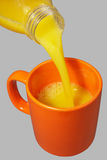 Taza y botella anaranjadas Fotos de archivo libres de regalías
