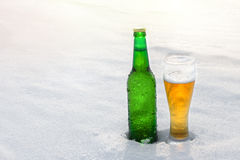 Taza y botella de cerveza fría en la nieve en la puesta del sol Fondo hermoso del invierno Reconstrucción al aire libre Foto de archivo libre de regalías