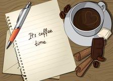 Taza y carta de café Foto de archivo