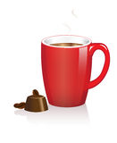 Taza y chocolate de café Fotografía de archivo libre de regalías