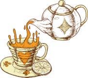 Taza y crisol de té Foto de archivo