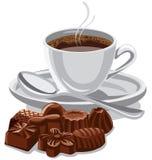 Taza y dulces de café Foto de archivo libre de regalías