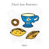 Taza y empanada, juego de té, ejemplo de color de dibujo de la mano Fotografía de archivo