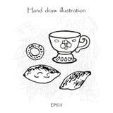 Taza y empanada, juego de té, mano que dibuja el ejemplo linear monocromático Imágenes de archivo libres de regalías