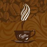 Taza y fondo de Coffe Imagen de archivo