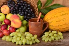 Taza y frutas coloridas, aún vida de la arcilla del viejo alfarero Foto de archivo libre de regalías