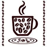 Taza y habas de café. Brown Imagen de archivo