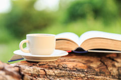 Taza y libro de café en la madera imágenes de archivo libres de regalías