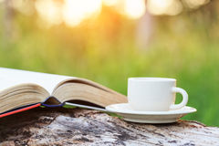 Taza y libro de café en la madera foto de archivo