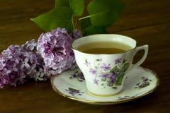 Taza y lilas de té del resorte Imagen de archivo libre de regalías