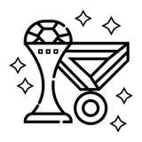 Taza y medalla del trofeo stock de ilustración