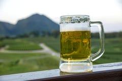 Taza y Mountain View de cerveza fotos de archivo