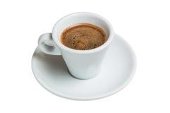 Taza y platillo de café en un fondo blanco Fotos de archivo