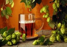 Taza y saltos de cerveza foto de archivo libre de regalías
