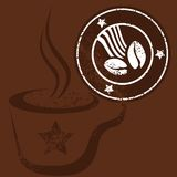 Taza y sello de café Foto de archivo