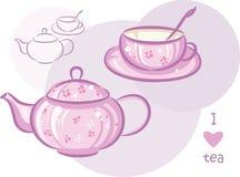 Taza y tetera rosadas Fotografía de archivo libre de regalías