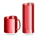 Taza y vidrio en forma de corazón rojos stock de ilustración
