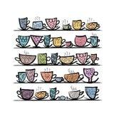 Tazas adornadas en los estantes, bosquejo para su diseño Fotografía de archivo libre de regalías
