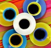 Tazas brillantes del café plano de la endecha Imágenes de archivo libres de regalías