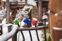 Tazas coloreadas en una cerca de madera en un pueblo del invierno Fotografía de archivo libre de regalías