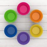 Tazas coloridas del silicón de la magdalena representación 3d imágenes de archivo libres de regalías