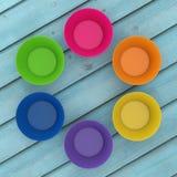 Tazas coloridas del silicón de la magdalena representación 3d foto de archivo