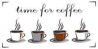 Tazas con café caliente Hora para el café Concepto Fotografía de archivo