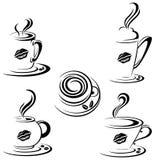 Tazas de café calientes stock de ilustración
