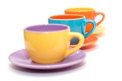 Tazas de café coloridas Foto de archivo libre de regalías