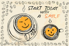 Tazas de café con espuma bajo la forma de cara sonriente Imagen de archivo