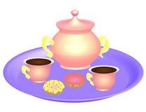 Tazas de café con la caldera en la placa magenta stock de ilustración