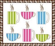 Tazas de café de la tela a rayas Foto de archivo libre de regalías