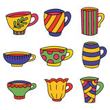 Tazas de café de las tazas de té Foto de archivo