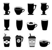 Tazas de café de los iconos en blanco y negro Fotos de archivo